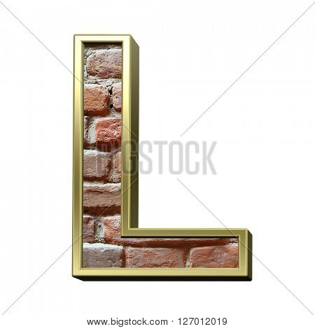 One letter from old brick with gold frame alphabet set, isolated on white. 3D illustration.