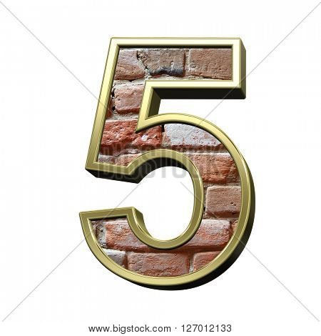 One digit from old brick with gold frame alphabet set, isolated on white. 3D illustration.
