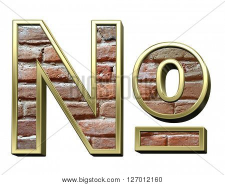 Number sign from old brick with gold frame alphabet set, isolated on white. 3D illustration.