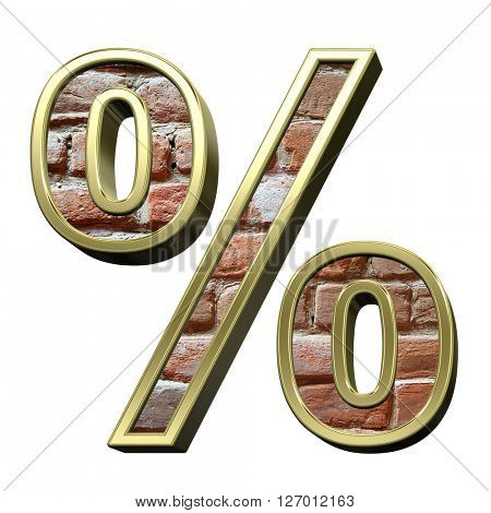 Percent sign from old brick with gold frame alphabet set, isolated on white. 3D illustration.