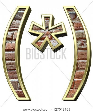 Parenthesis from old brick with gold frame alphabet set, isolated on white. 3D illustration.