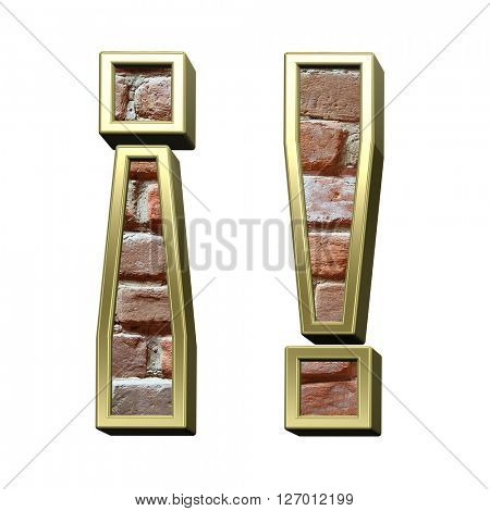 Exclamation mark from old brick with gold frame alphabet set, isolated on white. 3D illustration.