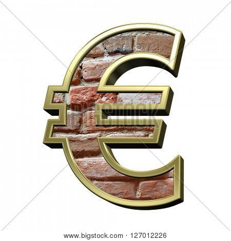 Euro sign from old brick with gold frame alphabet set, isolated on white. 3D illustration.