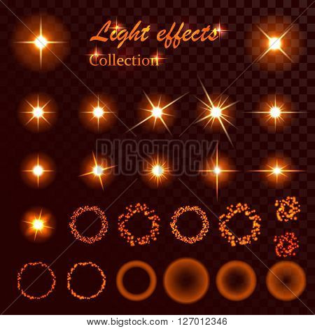 Collection of vector element light and spark effect template.