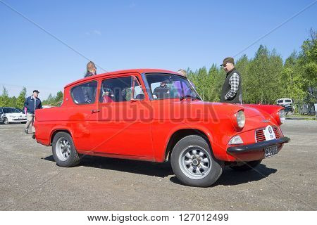 KERIMYAKI, FINLAND - JUNE 06, 2015: Ford Anglia 105E closeup. The parade of vintage cars in Kerimyaki