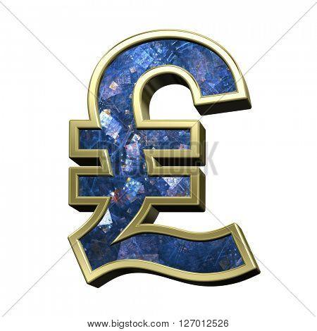 Pound sign from blue fractal alphabet set isolated over white. 3D illustration.
