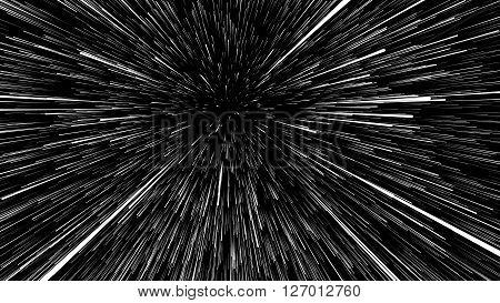 3D illustration of star trails at universe on black background