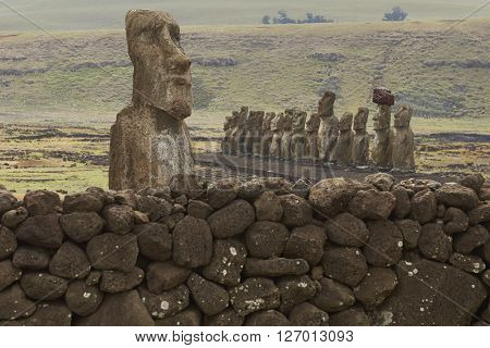 Ahu Tongariki. Ancient Moai statues on the coast of Rapa Nui (Easter Island)