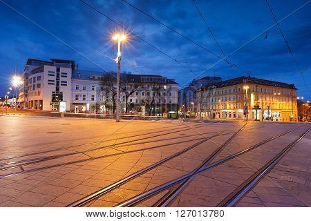BRATISLAVA, SLOVAKIA - APRIL 23, 2016: Hurban's square in the centre of Bratislava, Slovakia on April 23, 2016.