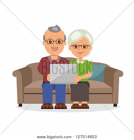 Social concept elderly couple web surfing on internet with laptop. Cartoon cheerful pension couple sitting on the couch with a laptop in a flat style.