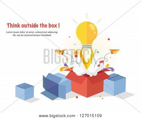 Think Outside The Box. Creative idea. Conceptual flat  illustrations