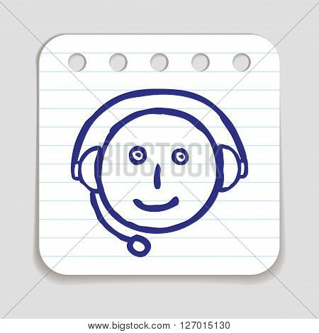 Doodle Customer Service icon. Blue pen hand drawn infographic symbol on notepaper. Line art style graphic design element. Web button with shadow. Client support, happy and unhappy customer concept.