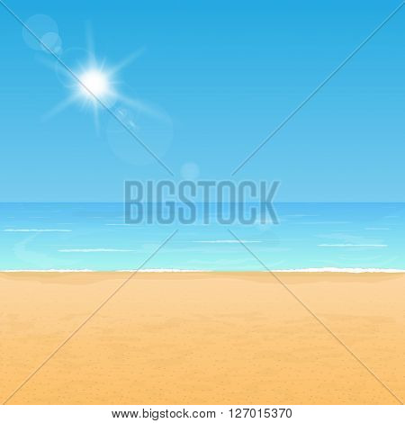 Peaceful beach coast. Calm ocean and yellow sand under bright sunlight.
