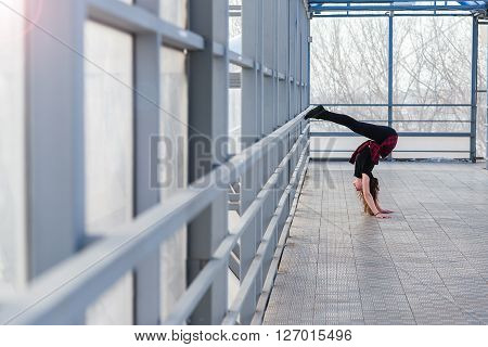 Sports Woman Doing Stretching Outdoors