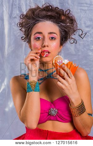 Beautiful  Girl With Colorful Cherry Muffin