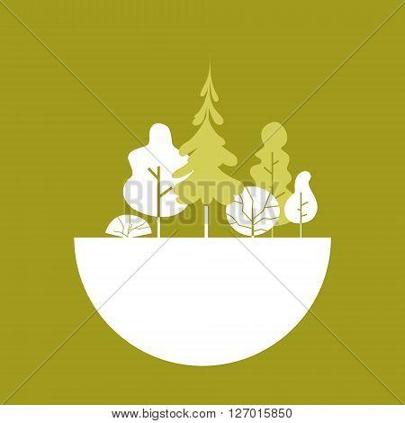 Silhouette Green Forest Logo Flat Vector Illustration