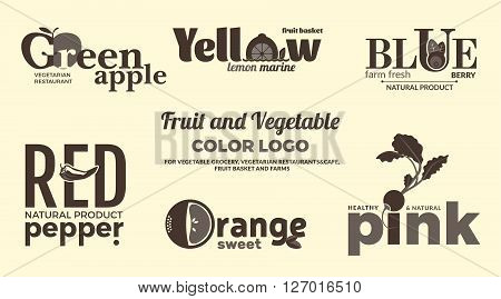 Set of monochrome logos on the theme of fruits and vegetables. For vegetable shops vegetarian restaurants and cafes delivery of fruit and vegetable farms. Vector Illustration