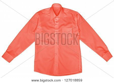 Red shirt with long sleeves isolated on white background. Clipping path included.