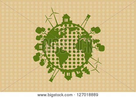 Green Earth Globe Silhouette Wind Turbine Retro Flat Vector Illustration
