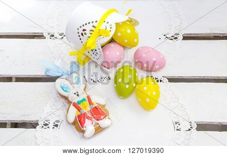 Easter Concert. Cookie Easter Bunny And Eggs In Peas