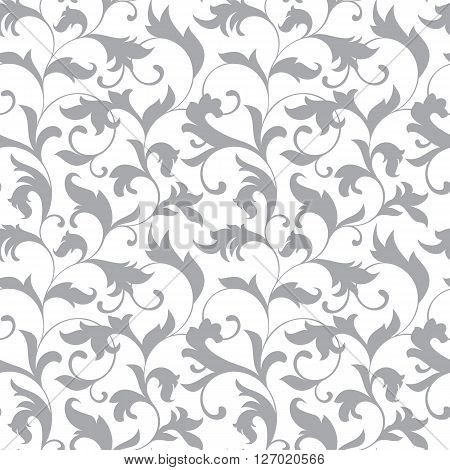 Classic Seamless Pattern. Tracery Of Twisted Stalks With Decorative Leaves On A White Background. Vi