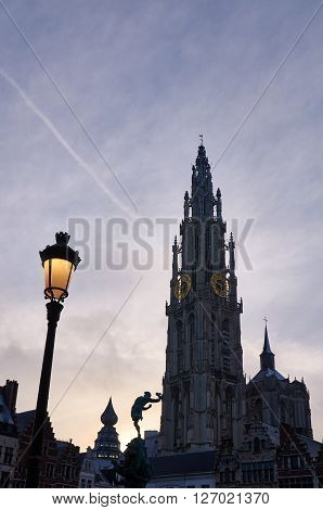 Morning view on a catherdral of Antwerp, Belgium