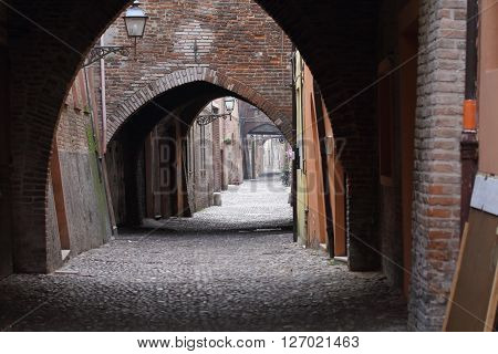 Some details of medieval Italian cities. Classical medieval streets at Ferrara