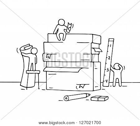 Sketch of working little people with pile of paper office supplies. Doodle cute miniature teamwork and workplace. Hand drawn cartoon vector illustration for business design and infographic.