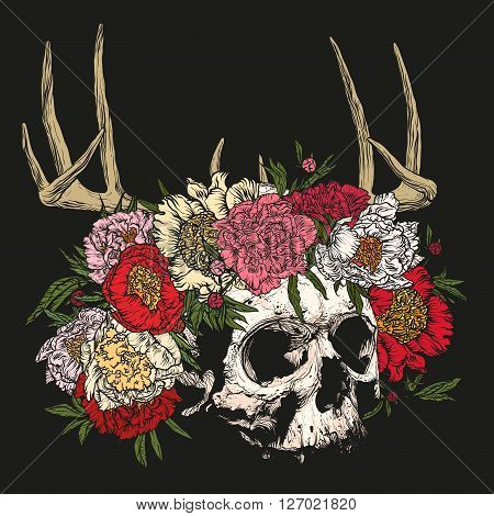 Vector illustration. Hand drawing on a graphic tablet.Human skull wearing a wreath of peonies with antlers on a black background.