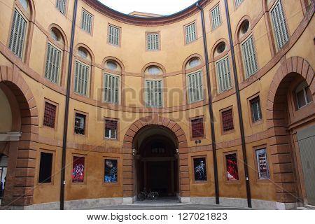 Ferrara, Italy - 6 march 2016 - courtyard of the municipal theater of Ferrara