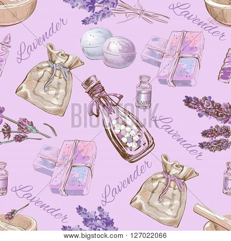 Vector lavender cometic seamless pattern. Background design for cosmetics, store, beauty salon, natural and organic products. Can be used like a texture and fabric print
