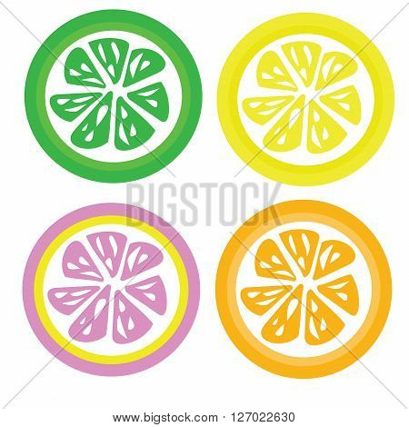Set for four color slices lemon orange lime and pink lemon vector isolated on white background