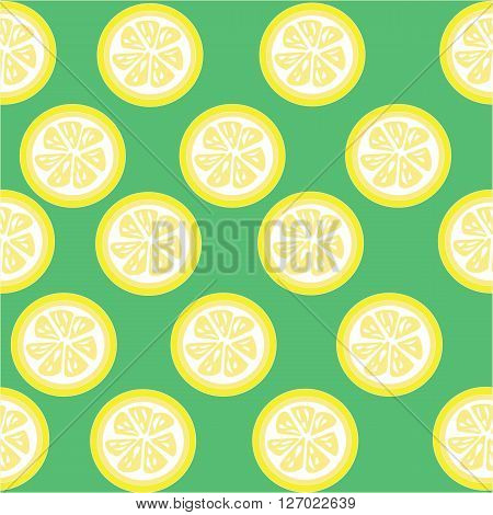Lemon and lemon slices seamless on green background with clipping mask