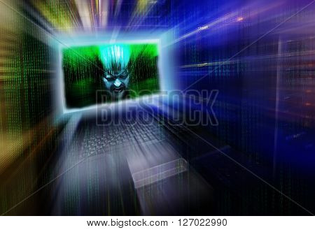 head screaming man escapes from screen managing mainframe terminal in binary code