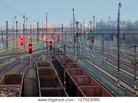 Freight trains - Cargo transportation Railway at night