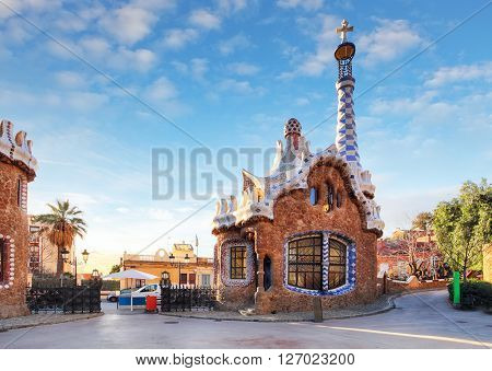 BARCELONA, SPAIN - FEBRUARY 25: The famous Park Guell on February 25, 2016 in Barcelona, Spain. Park Guell is the famous park designed by Antoni Gaudi and built in the years 1900 to 1914