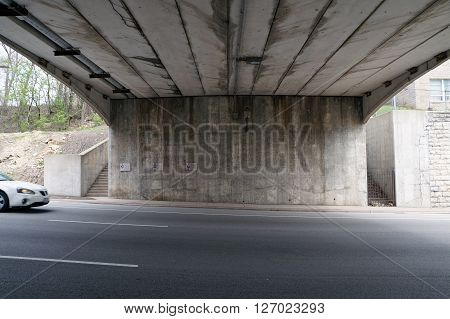 Underneath the Broadway Street Bridge, which spans Jefferson Street near downtown Joliet, Illinois.