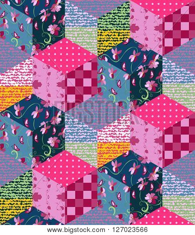 Bright multicolor patchwork pattern. Seamless vector illustration of quilt.