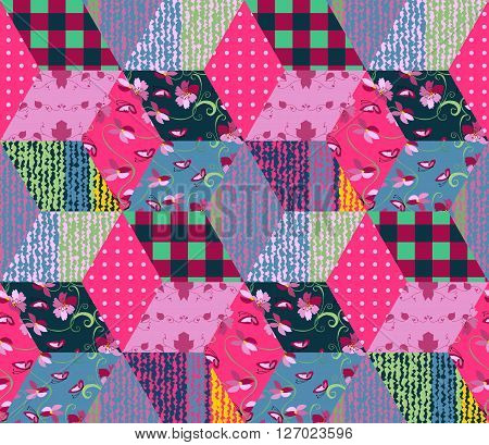 Seamless patchwork pattern with colorful rhombus patches. Vector illustration of quilt.