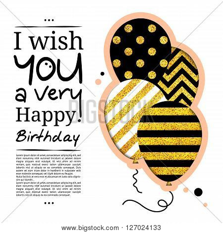 Birthday card in the style of cutouts with balloons on golden glitter background.