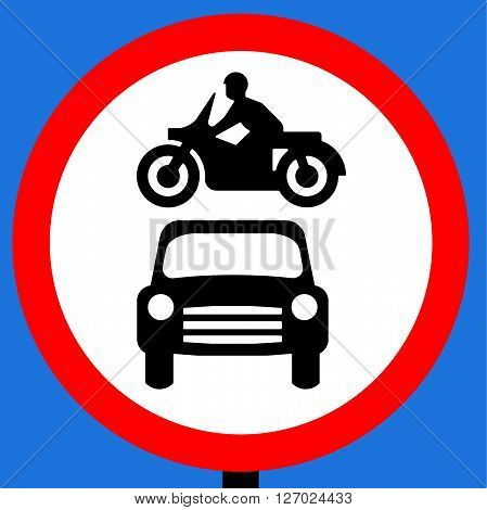 An illustration of a No motor vehicles traffic sign