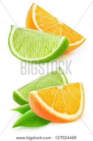 Isolated orange and lime slices. Two pieces of orange and lime fruits isolated on white background with clipping path