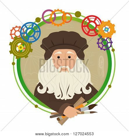 Cute cartoon of Leonardo Da Vinci holding brushes, pencil and a ruler. With a green circled frame and colorful gears around him. Eps10