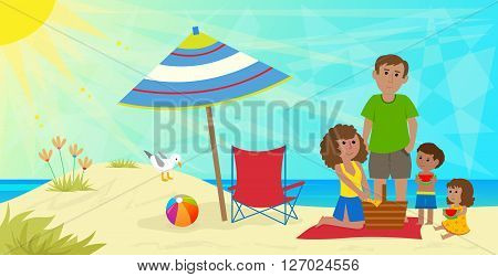 A young family is having a picnic at the beach. Eps10