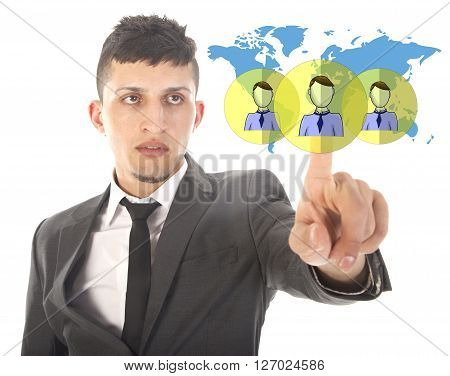 Young businessman with virtual worldwide friends isolated on white background