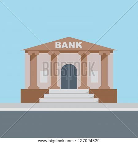 Bank building finance institution with road on flat style background concept. Vector illustration design