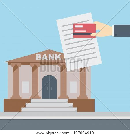 Hand holding credit card and document in front of bank building finance institution with road on flat style background concept. Vector illustration design
