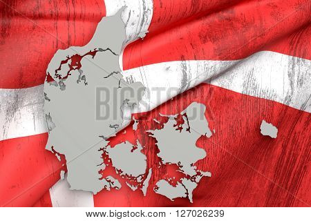 Silhouette Of Denmark Map With Flag