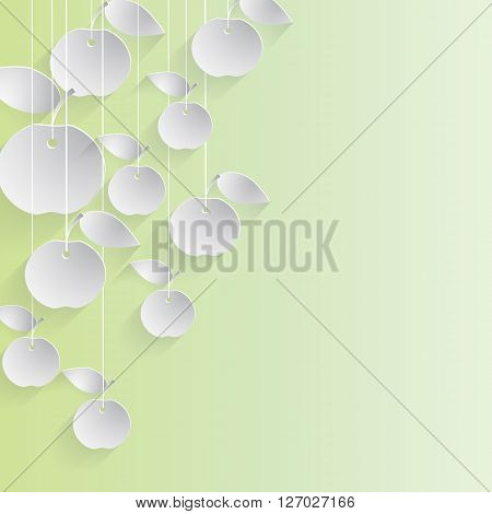 Paper apples with drop shadows hanging on strings. Yellow pastel background. Vector illustration.