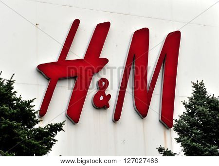 ROSTOV RUSSIA - MARCH 30 2016: Logotype of H&M company on March 30 2016. H&M is a swedish company one of the largest fast fashion chains around the world.